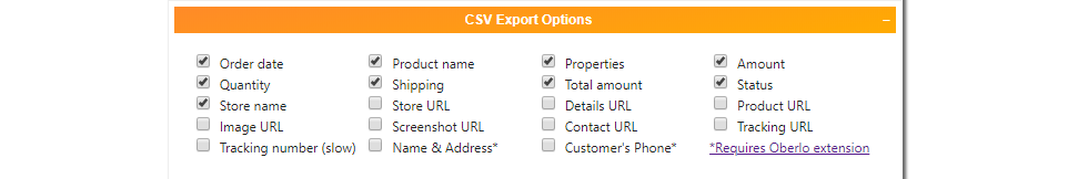 Ali Invoice CSV Export Options