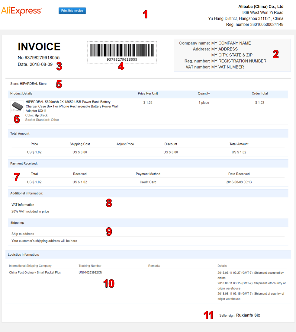 Ali Invoice - Single Invoice Sample