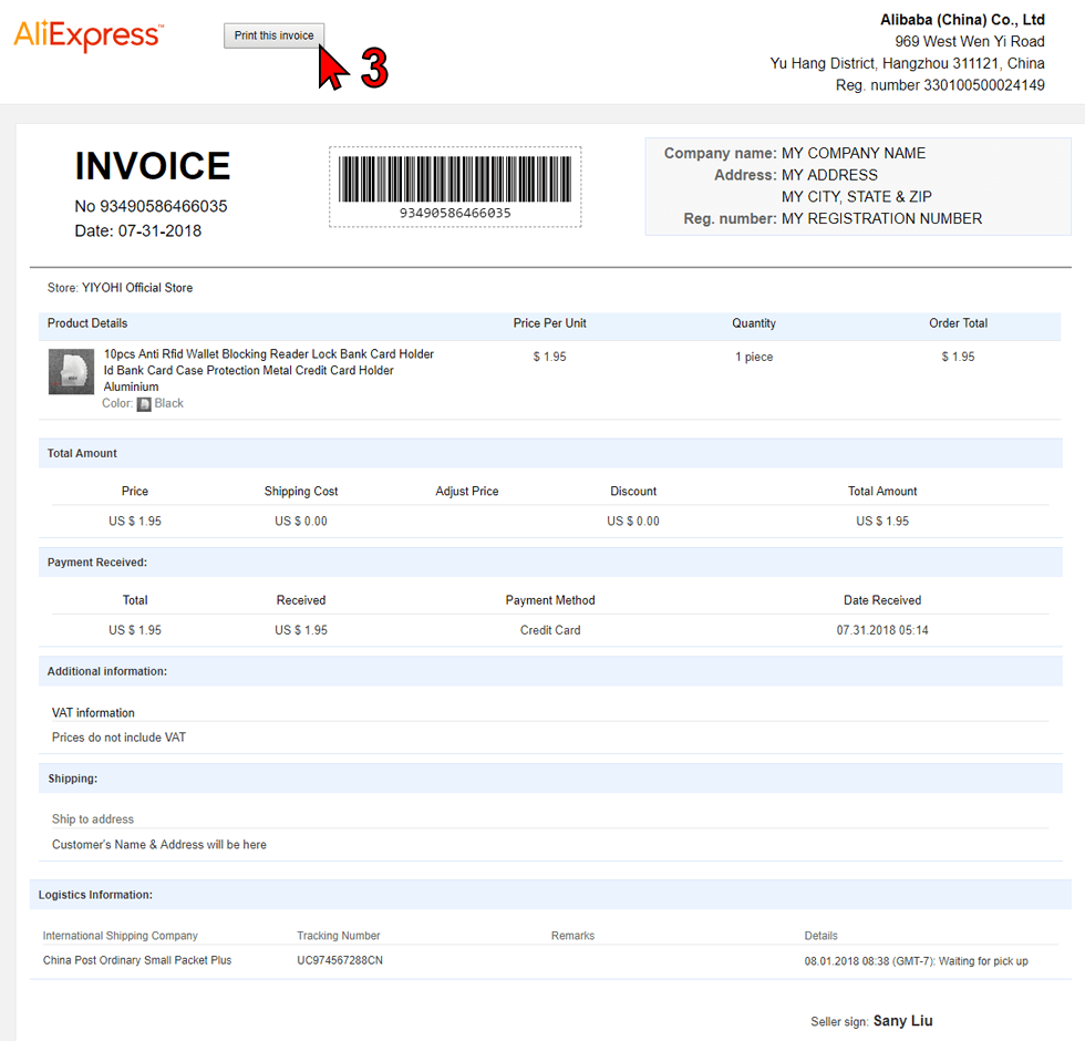 Single Invoice preview
