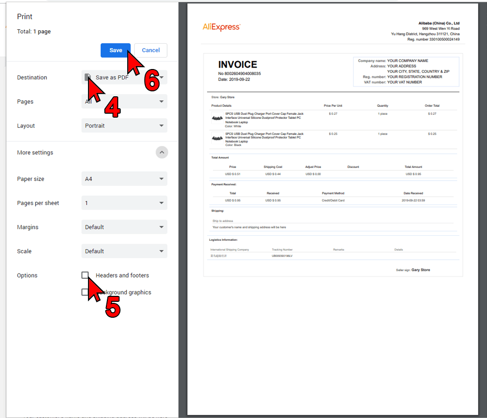 Ali Invoice FREE - Print options