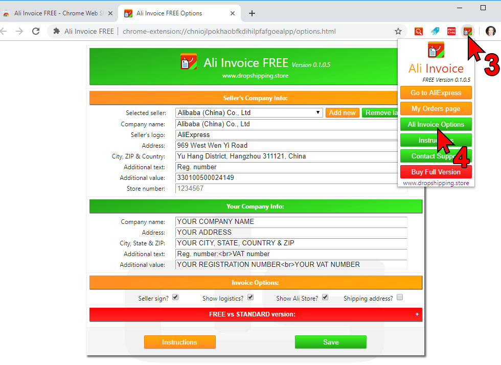 Ali Invoice FREE Options