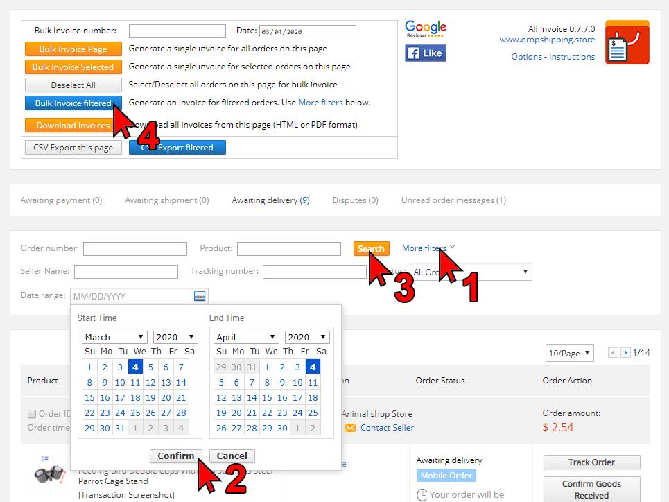 Ali Invoice - Bulk Invoice - Orders Page