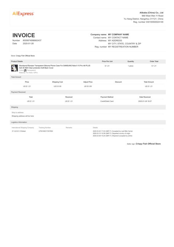 AliExpress PDF Invoice