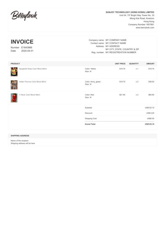 BerryLook PDF Invoice