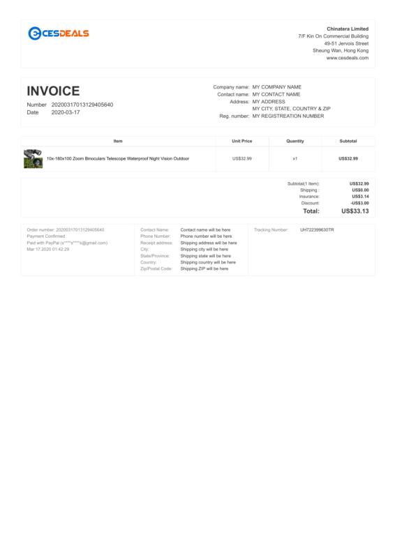 CesDeals PDF Invoice