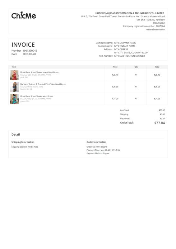 ChicMe PDF Invoice
