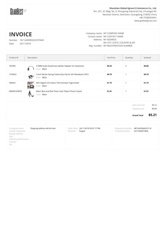 GearBest PDF Invoice