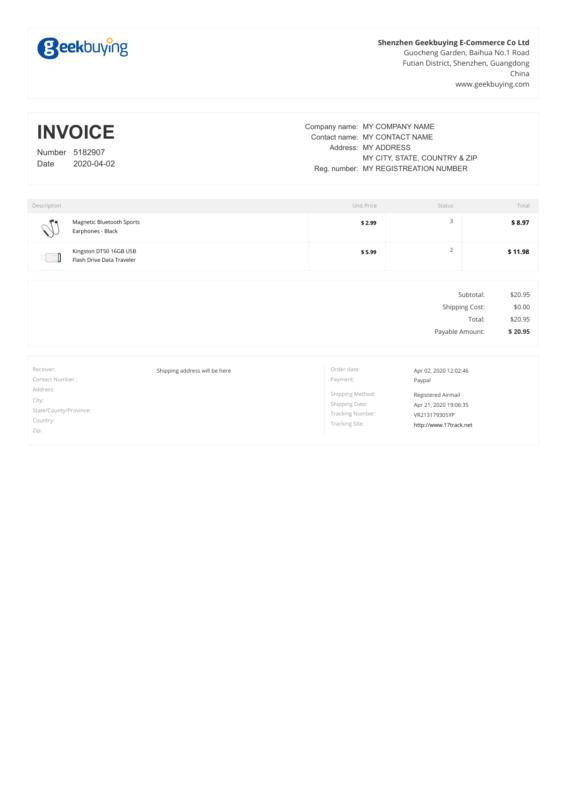 GeekBuying PDF Invoice