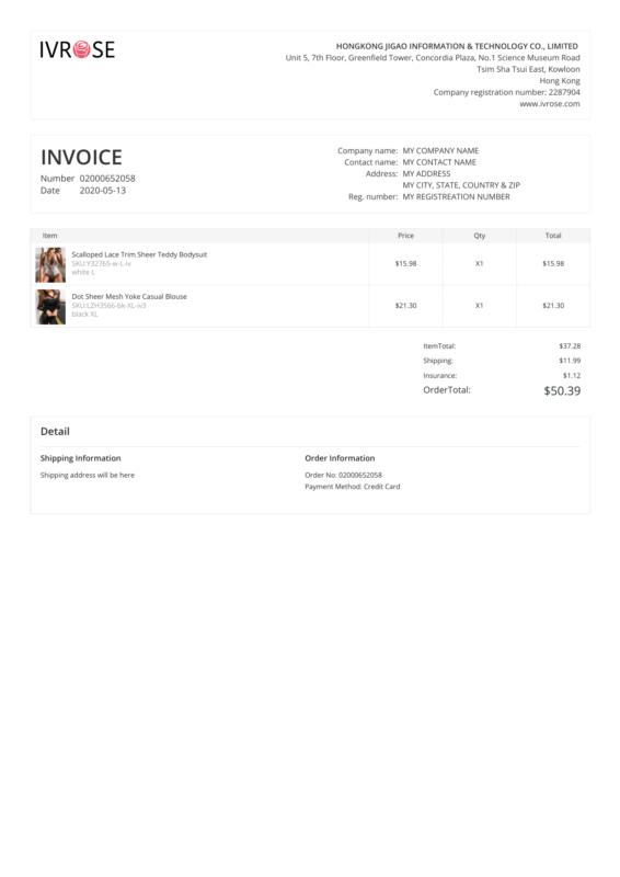 Ivrose PDF Invoice
