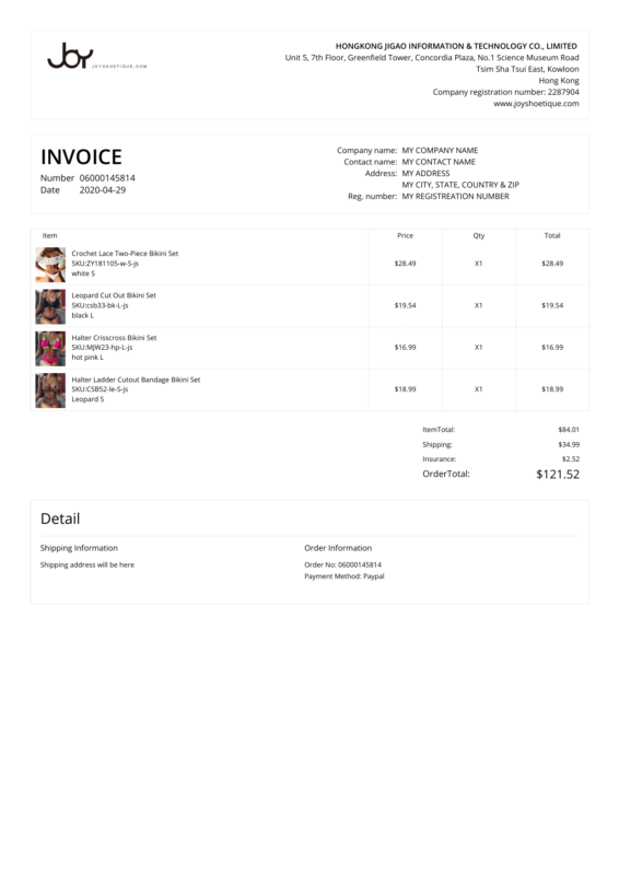 Joyshoetique PDF Invoice