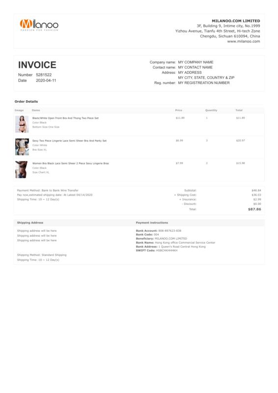 Milanoo PDF Invoice