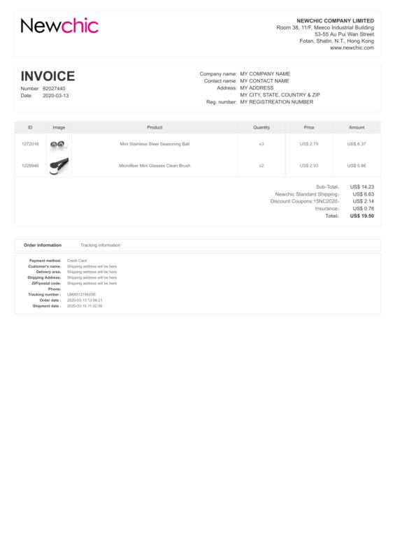 NewChic PDF Invoice