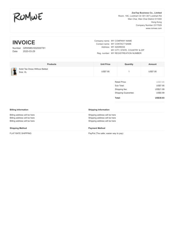 Romwe PDF Invoice