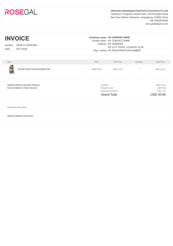RoseGal PDF Invoice