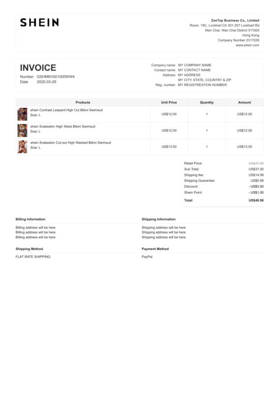 Shein PDF Invoice