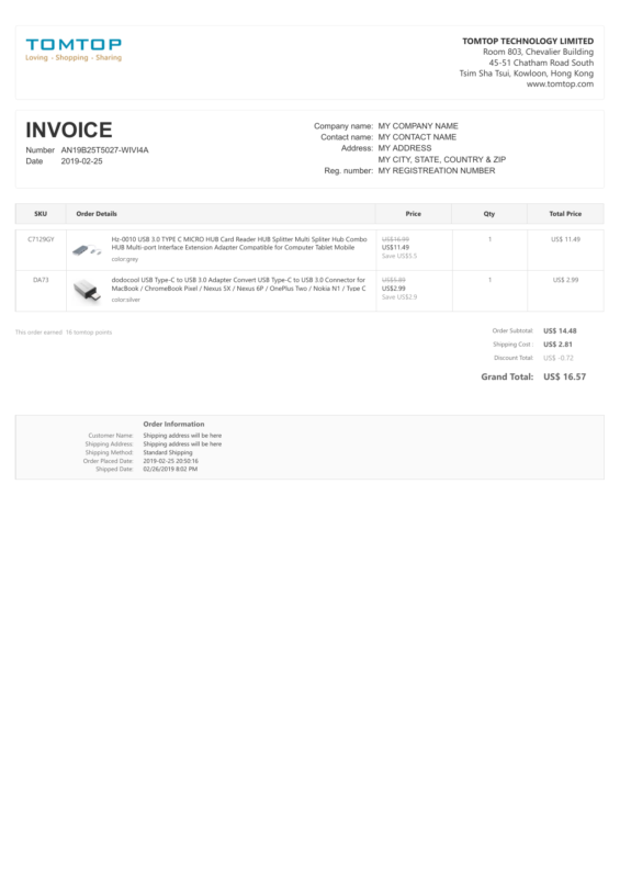 TomTop PDF Invoice