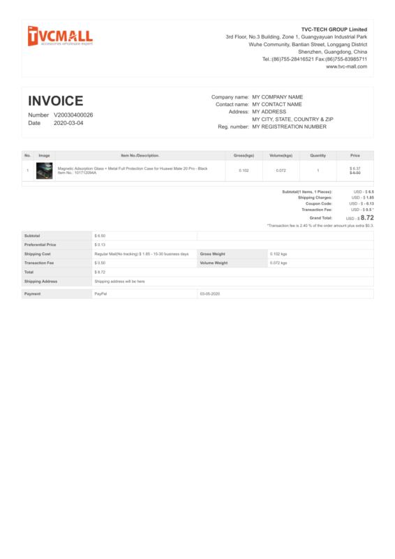 TVC-Mall PDF Invoice
